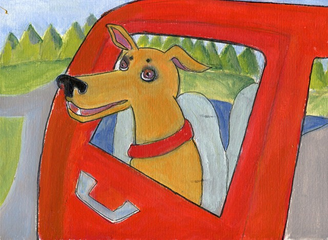 Painting of a dog riding in red car for sale