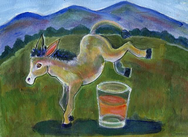 A mule kicks up its heels. Acrylic painting.