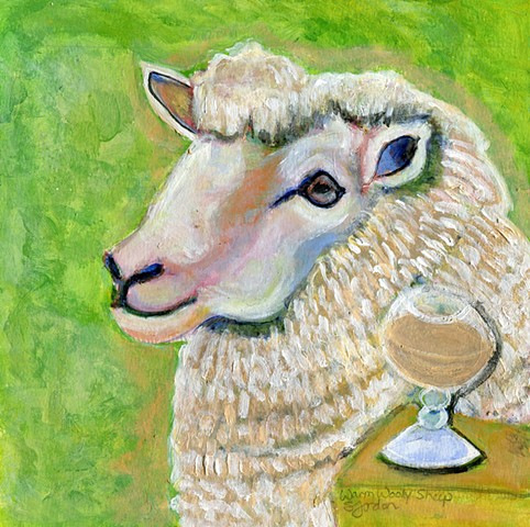Painting of a Sheep next to a drink