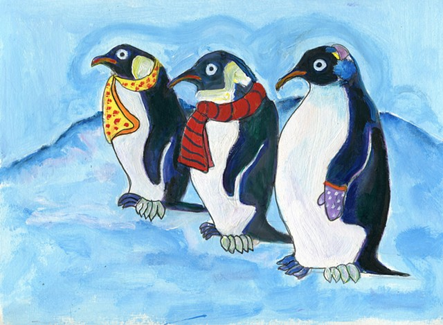 whimsical penguin painting for sale