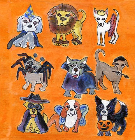Costumed Halloween dogs