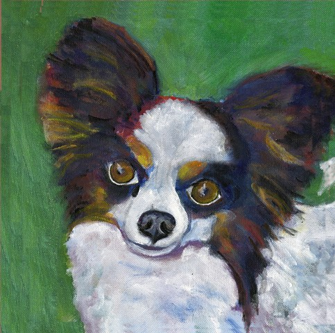 Painting of a Papillon dog