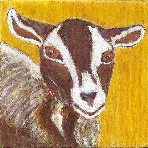 Whimsical, custom portait of a family's favorite goat.