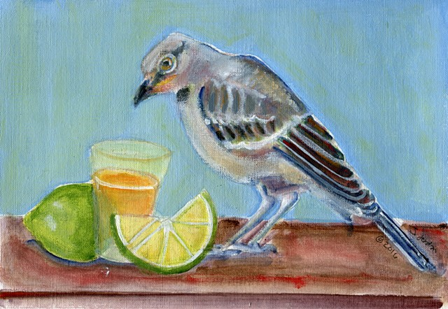 Painting of mockingbird with a tequila shot