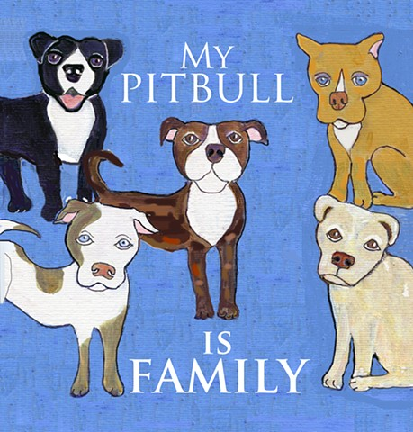 Giclee print celebrating pitbulls for sale