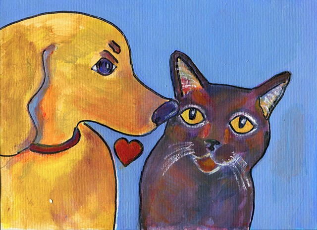 Sweet painting of a dog kissing a black cat for sale
