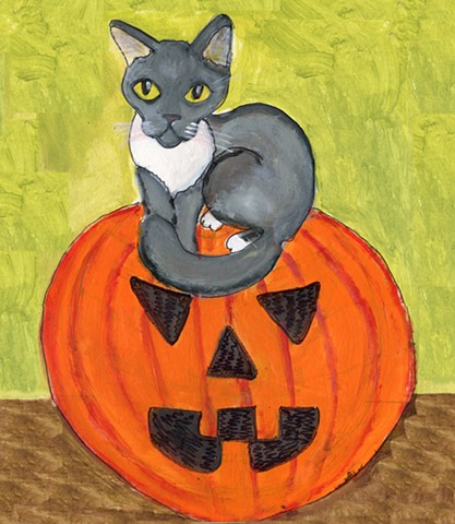 Halloween Cat Painting for sale
