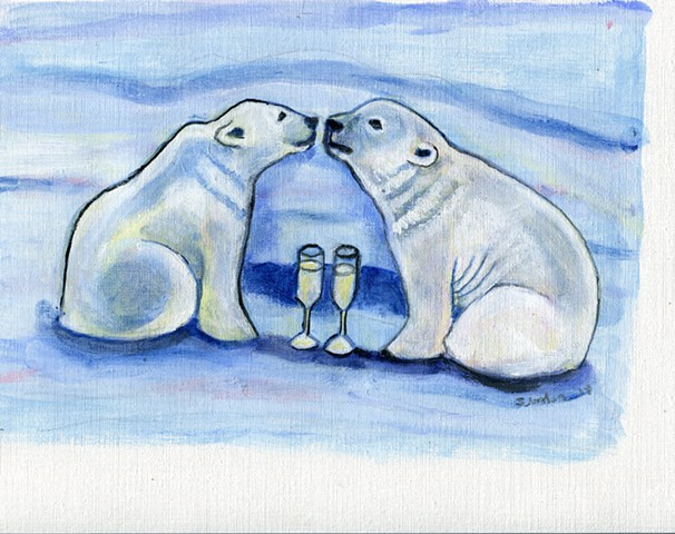 Two Polar Bears, kissing, next to a champagne glass.