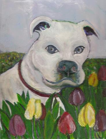 White Bulldog painting, custom available