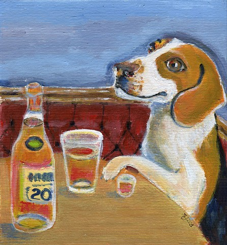 Beagle painting with beer and scotch