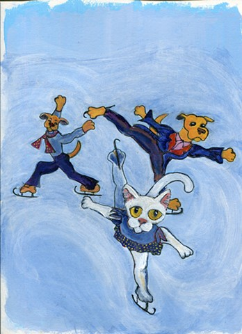 Painting of cat and dogs skating for sale.