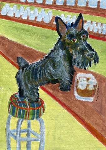A painting of a black scotty dog stands on a tartan covered stool ready to drink scotch and soda.