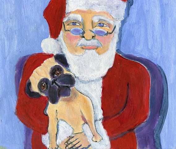 Holiday Pug painting with Santa Claus