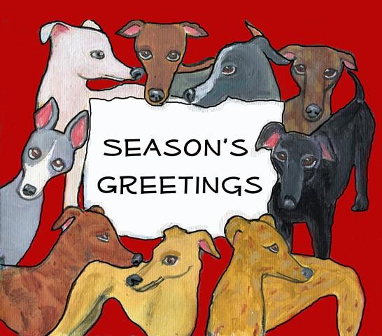 Greyhounds say Seasons Greetings, greyhound card design