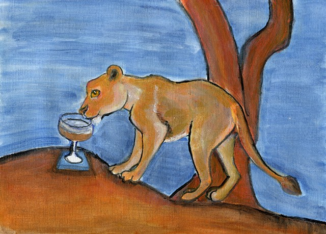 Lion drinking a cocktail on savanah