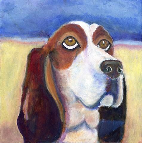 Custom Basset Hound Painting