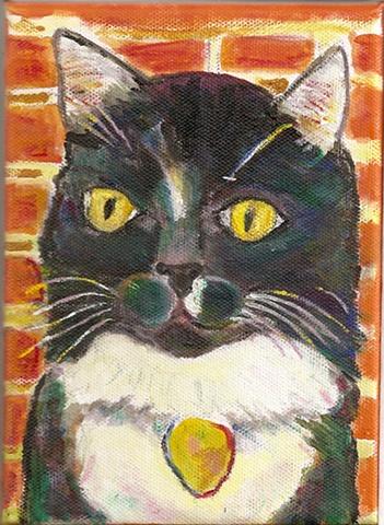 Black and white tuxedo cat painting