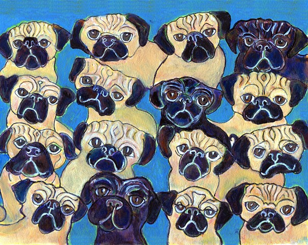 Painting of pugs in a group for sale