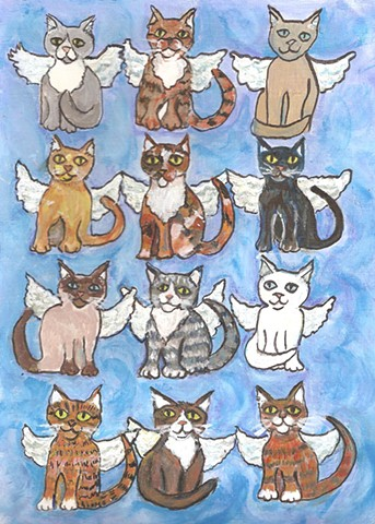 cat angels painting for sale