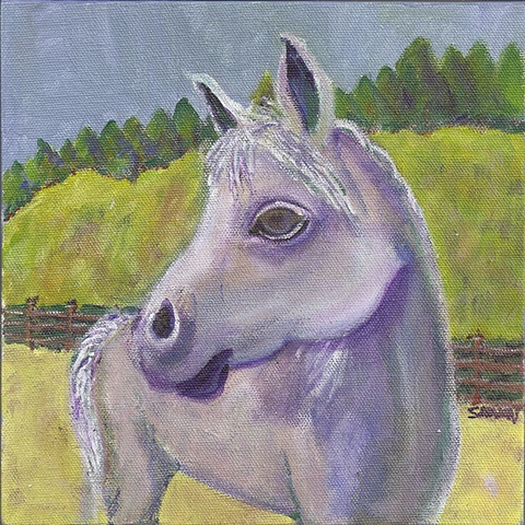 Horse painting: grey horse next to red barn