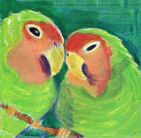 green lovebirds on a green background