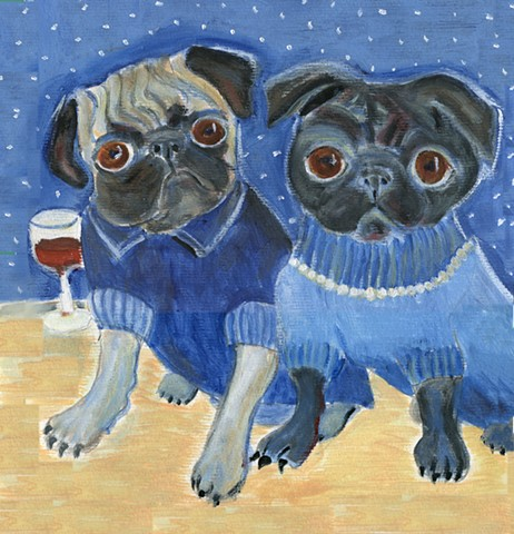 A painting of a fawn pug and a black pug both wearing sweaters sit at an outdoor table on a clear starry night.