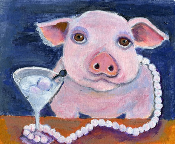 Pig wearing pearls drinking a martini