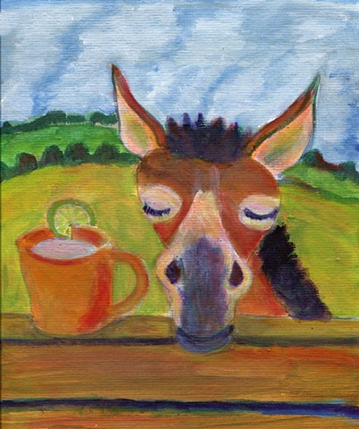 Mule next to a fence with a drink in a copper cup