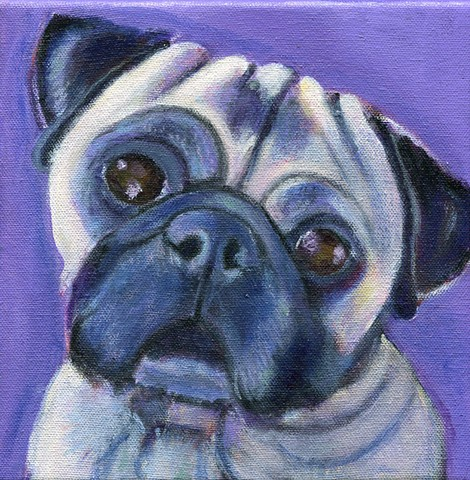 Penny the pug, a custom acrylic painting