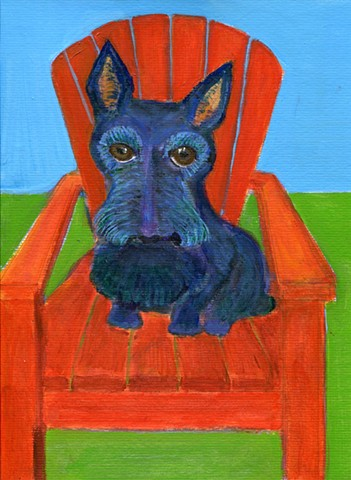 Painting of a Scottish terrier in a red chair for sale