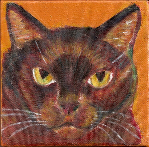 Painting of a black cat