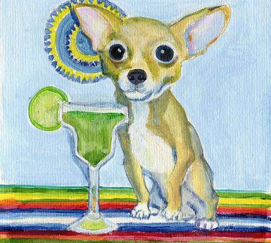 Chihuahua with margarita