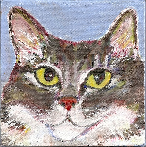 gray and white tabby cat painting