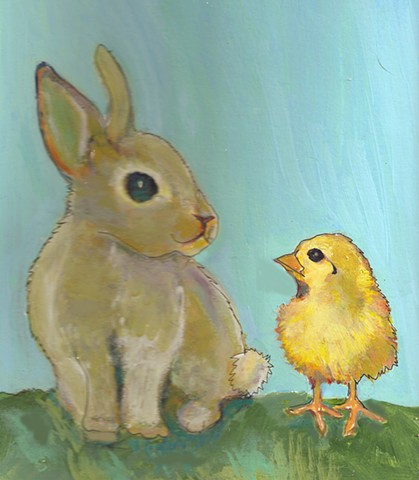 Painting for sale of a bunny rabbit and chick