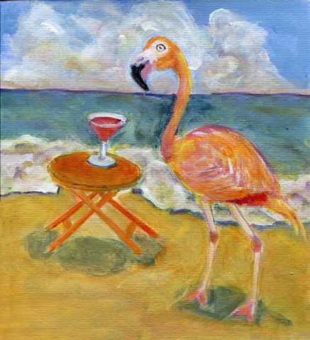 Pink Flamingo bird near a pink flamingo drink