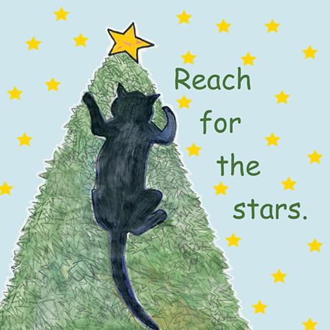 Cat climbs a Christmas tree