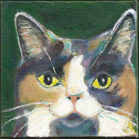 painting of a dilute calico cat;