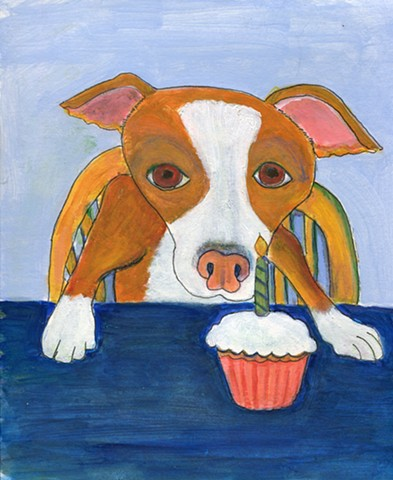 Painting of a pitbull eating a cupcake - for sale