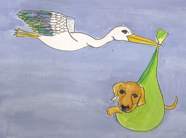 Painting of a stork carrying a pup