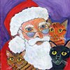 Santa with three cats