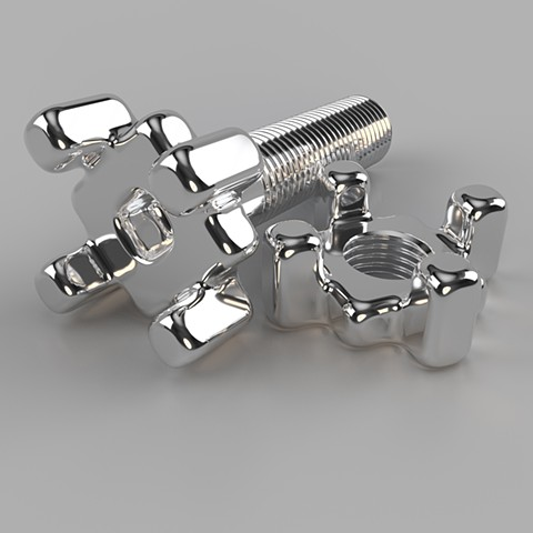 Alternate/Parallel Fastener #13, Chrome Version :: Computer rendering