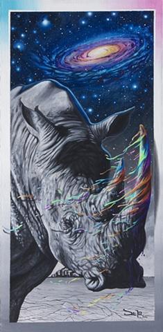 rhino rhinoceros animal black and white dripping tusk