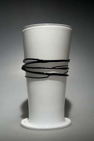 White Cylinder Vase with Black wrap