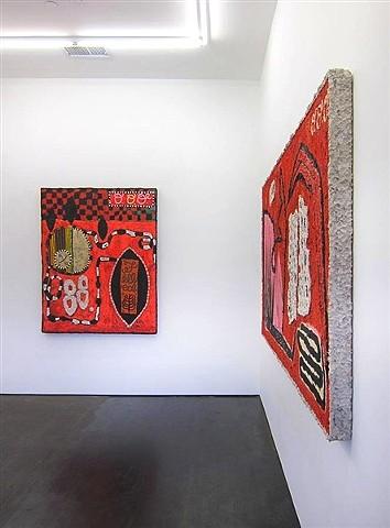 Installation view of Britta Deardorff: Red Liar Paintings
