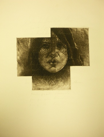 3-plate mezzotint on tea-stained paper.