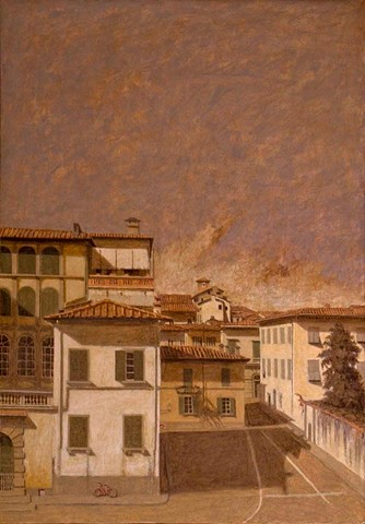 painting by brian h reynolds Lucca italy le mura plein air landscape art