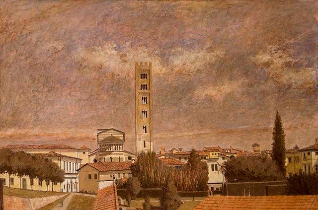 painting by brian h reynolds Lucca italy le mura plein air art san frediano
