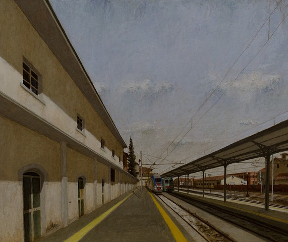 plein aire, italy, buildings, trains