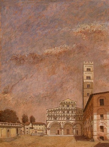 painting by brian h reynolds il Duomo San Martino Lucca Italy plein air landscape