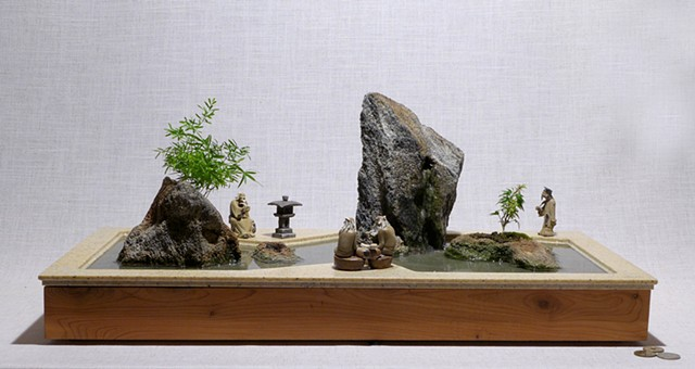 Tabletop zen garden with fountain